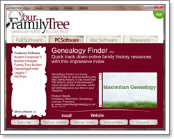 Click here for free download page of Maximilian Genealogy's Genealogy Finder software